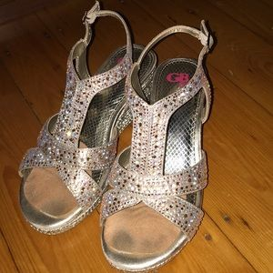 Girls gold party shoes